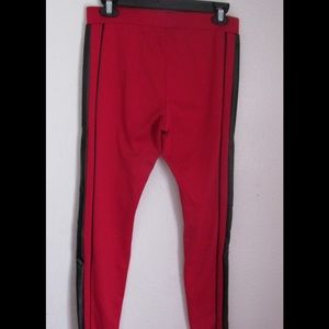 Almost Famous Pants - Cute Red Stretchy Pants W/Black Side Stripes