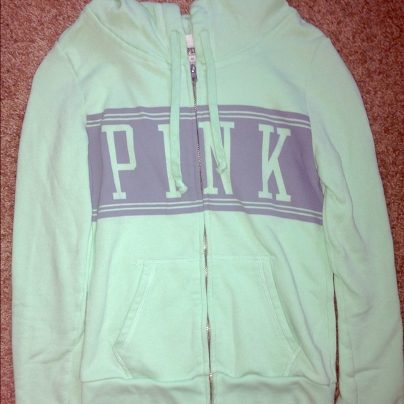 64% off PINK Victoria's Secret Tops - Mint Green VS/Pink Hoodie W ...