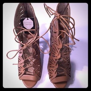 Brand New Zara Tan lace up sandals.