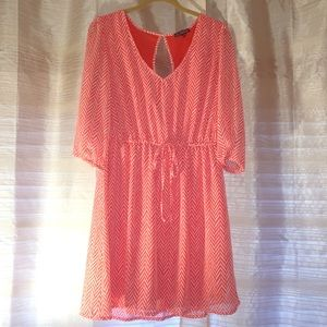 Dresses & Skirts - Coral and white chevron flowy dress