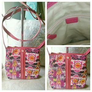 Lodis Handbags - Lodis Pink Multicolor Canvas & Leather Crossbody