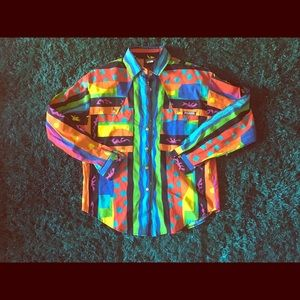 5/6 roughrider bright neon shapes hipster top