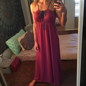 Dresses & Skirts - Magenta and teal maxi dress with cinch tie&beads