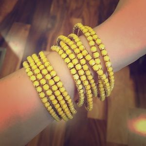 Yellow and Gold Stretch Bracelets