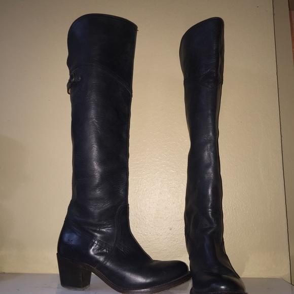 e6aa298efe0 Frye Shoes - FRYE JANE Fold Over Tall BLACK BOOTS  7