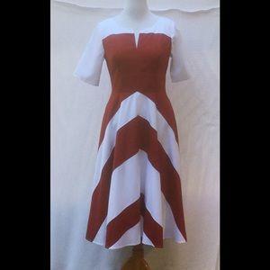 New Eshakti Chevron Fit & Flare Dress L 14