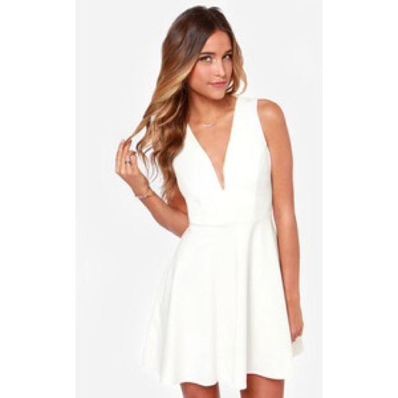 49% off Lulu's Dresses & Skirts - Deep white v neck dress from ...