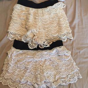 Skirts - Two white crochet shorts!