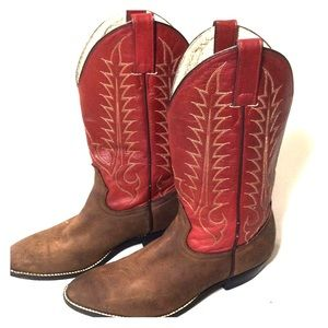 Tony Lama Shoes - Tony lama red brown leather cowboy boots sz 4.5