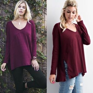 AVELIE solid side slit long sleeve top - BURGUNDY