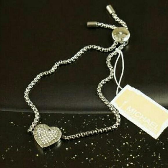 7c5793f81b08c Auth Michael Kors Pave Heart Bracelet  Silver