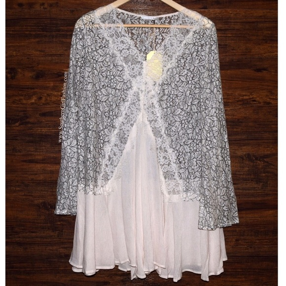 SWING TUNIC Floral Lace Mini Dress Eyelet Blouse 4161bb0d8
