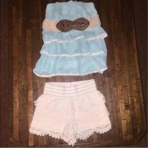 Super cute crop tier ruffle top and lace shorts