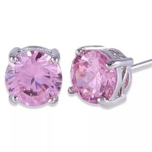Boutique Jewelry - 7mm Pink Swarovski Crystal & White Gold Studs