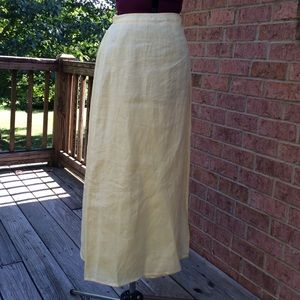 Eileen Fisher pale yellow linen wrap skirt