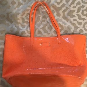 Authentic Kate Spade orange patent leather tote