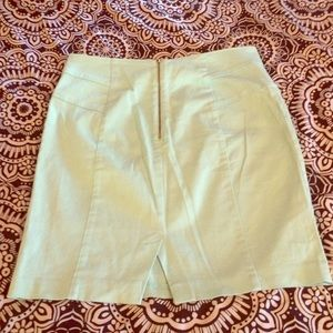 Mint pencil skirt with gold zipper