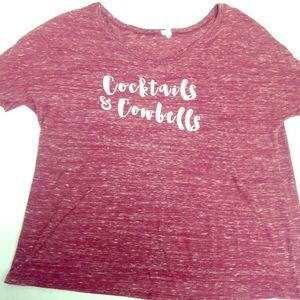 Cocktails and Cowbells gameday Tee! Size XL