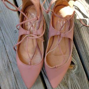 Womens blush pink lace up flats