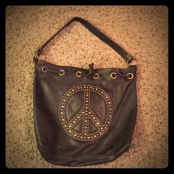 Leather Crown Bags Leather Peace Sign Purse Poshmark
