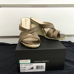 Ellen Tracy Bronze Wedges