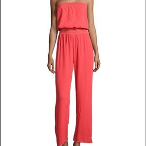 Eight Sixty Pants - Eight Sixty Strapless Voile Coral Jumpsuit