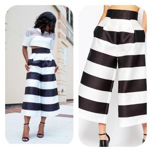 Solace London Pants - Solace London Evelyn Stripe Tailored Culottes