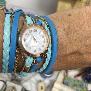 Double wrap watch! Sexy boho style! Aqua blue