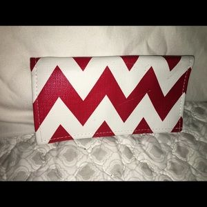 Handbags - Red and White Chevron Checkbook Cover