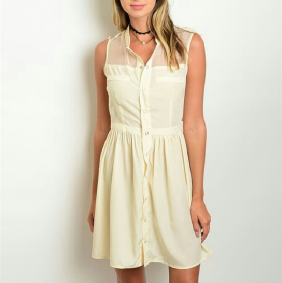 72d2706398fa Beige Button Down Summer Casual Dress