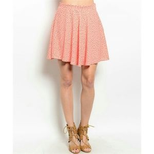 Coral & Black Dotted Skirt