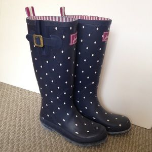 26% off Joules Shoes - Joules Welly rain boots in navy polka dots ...