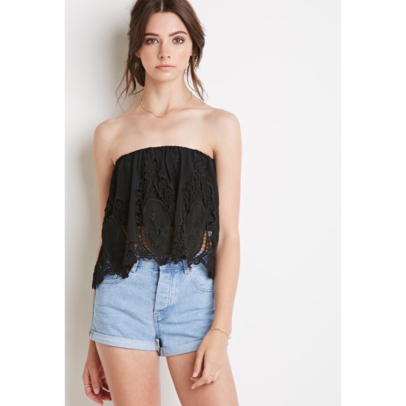 Forever 21 Tops Flowy Crochet Strapless Crop Top Poshmark