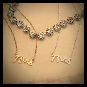 """Mrs"" gold necklace wife bride to be 18"""