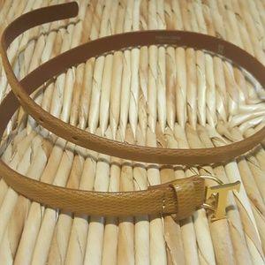 Tru Trussardi Accessories - TRUSSARDI made in Italy brown/gold belt