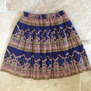 Anthropologie navy and gold pleated skirt