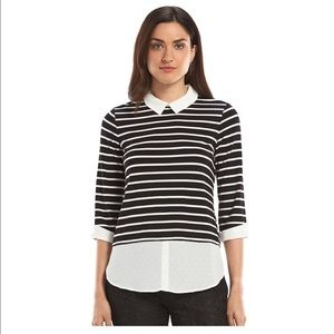 Elle Tops - Women s Striped Mock-Layered Top with Collar 4080b1dfc