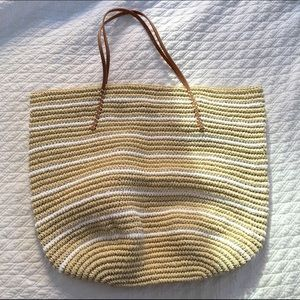 Hat Attack Handbags - Hat Attack Twisted Stripe Tote w Leather Straps