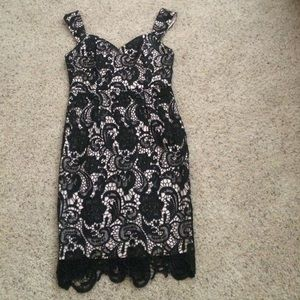 Dresses & Skirts - NWT Black Lace dress with Tan lining