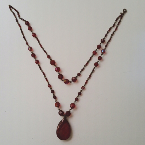 Jewelry - Ruby Teardrop Double Strand Necklace