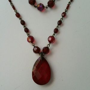 Ruby Teardrop Double Strand Necklace