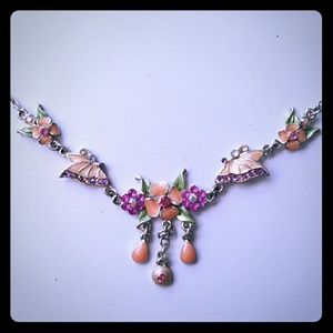 Pink Floral Butterfly Necklace