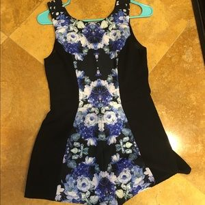 LF Dresses & Skirts - LF stores black and blue floral romper