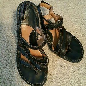 BORN Black Wedge Sandals