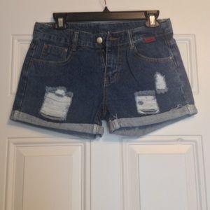 ROMWE Pants - NWOT Romwe Blue Ripped Cuffed Denim Shorts