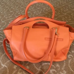 ALBERTA FERRETTI ORANGE LEATHER SHOPPER