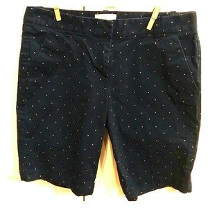 J. Crew blue pink dot bermuda shorts sz 0.