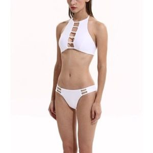 Womens white cut out bikini