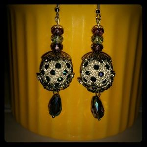 Crystal inlays, n drops silver and glass dangles