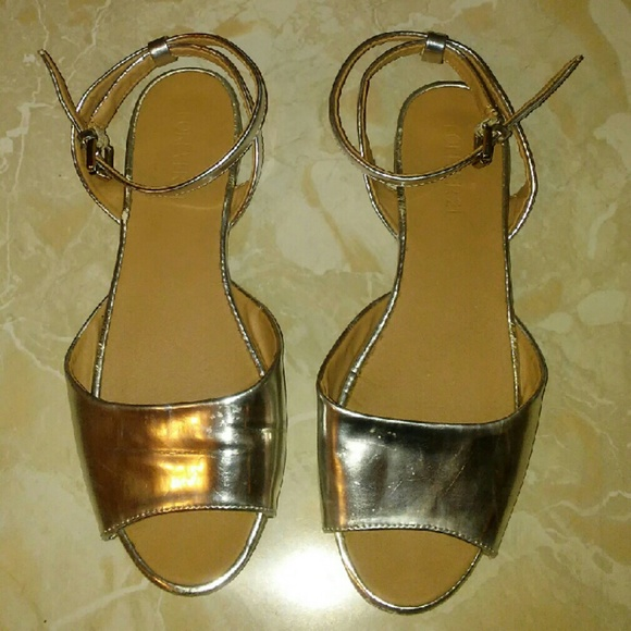eb1705b1c Forever 21 Shoes - Forever 21 Silver Ankle Strap Flat Sandals